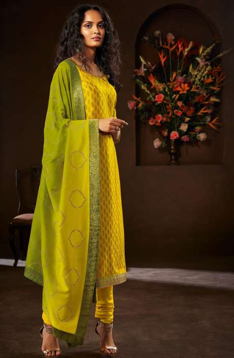 Designer Russian Silk Digital Printed Lime Yellow Salwar Kameez with Zari Work - AVA8302