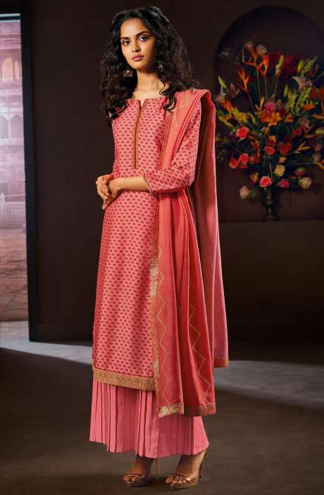 Designer Russian Silk Digital Printed Pink Salwar Kameez with Zari Work - AVA8303