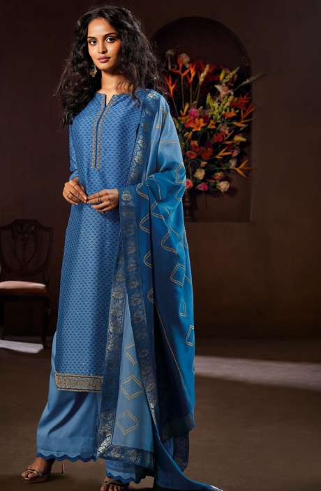 Designer Russian Silk Digital Printed Light Blue Salwar Kameez with Zari Work - AVA8304