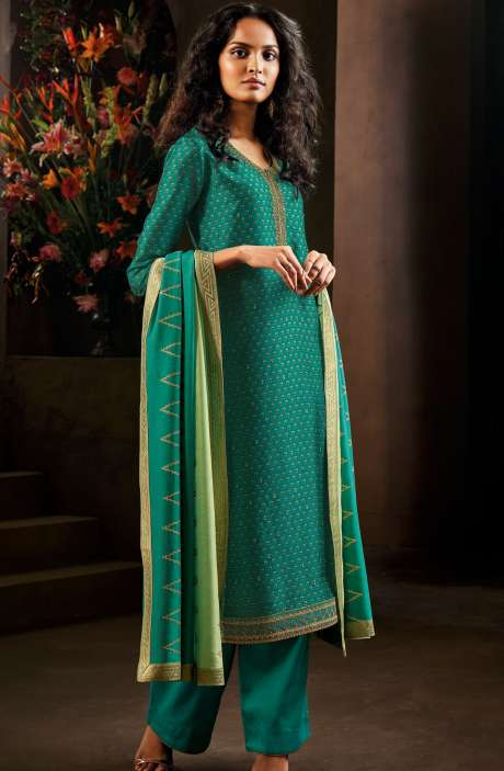Designer Russian Silk Digital Printed Firozi Salwar Kameez with Zari Work - AVA8305