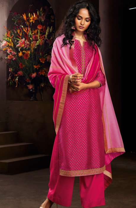 Designer Russian Silk Digital Printed Rani Pink Salwar Kameez with Zari Work - AVA8306