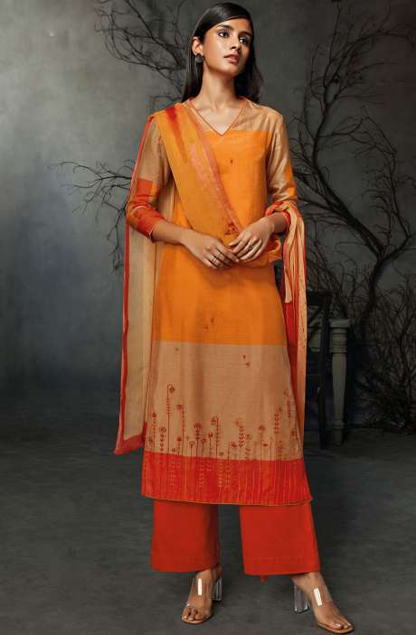 Cotton Silk Digital Printed Salwar Suit Sets in Multicolor & Orange - AVI8335