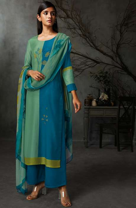 Cotton Silk Digital Printed Salwar Suit Sets in Sea Green & Blue - AVI8338