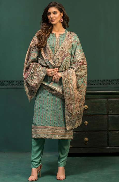 Spun Woollen Unstitched Weaving Salwar Kameez In Green - AWA5021