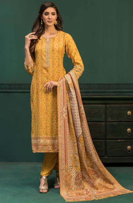 Spun Woollen Unstitched Weaving Salwar Kameez In Yellow - AWA5023