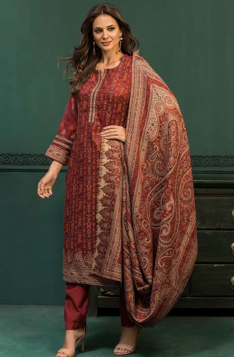 Spun Woollen Unstitched Weaving Salwar Suit In Maroon - AWA5024