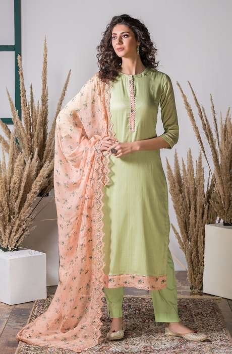 Exclusive Digital Printed Stylish Cotton Suit Set In Green with Embroidery Work - AWA5222