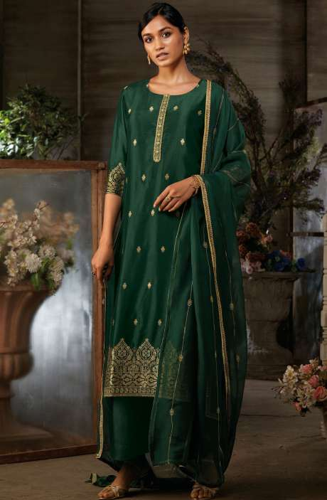 Silk Jacquard Suit Sets with Zari & Swarovski Work In Bottle Green - AYA7950