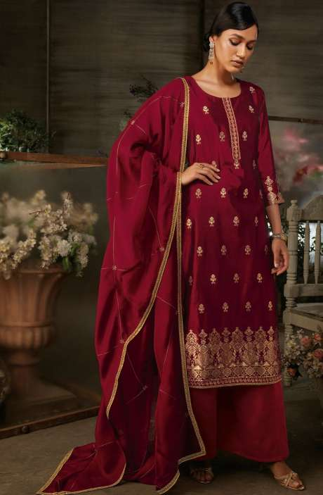 Silk Jacquard Suit Sets with Zari & Swarovski Work In Maroon - AYA7951