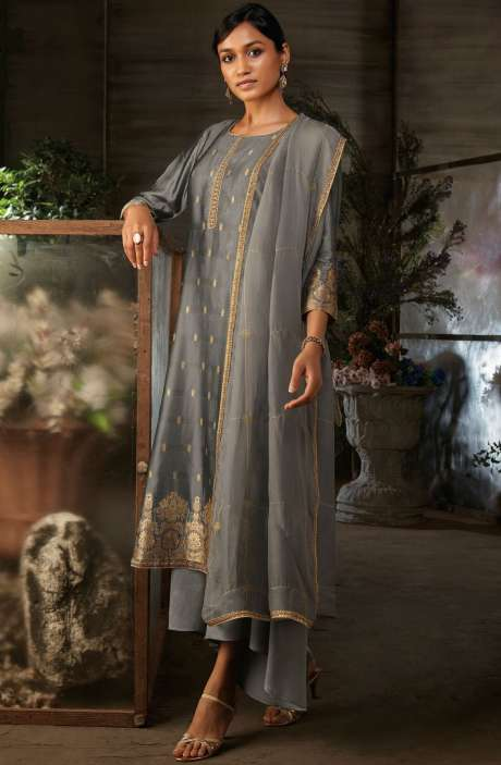 Silk Jacquard Suit Sets with Zari & Swarovski Work In Grey - AYA7955