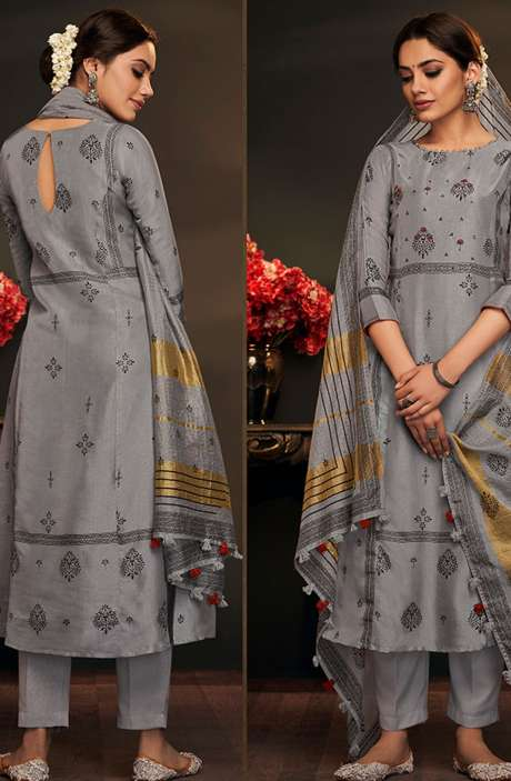 Cotton Silk Spring Collection Printed Salwar Suit Sets In Grey - AYL5042