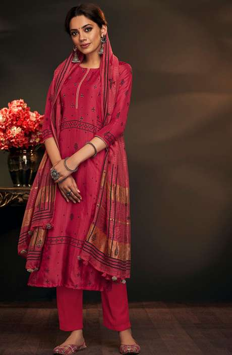 Cotton Silk Valentine's Day Gift Printed Salwar Suit Sets In Rose Red - AYL5043