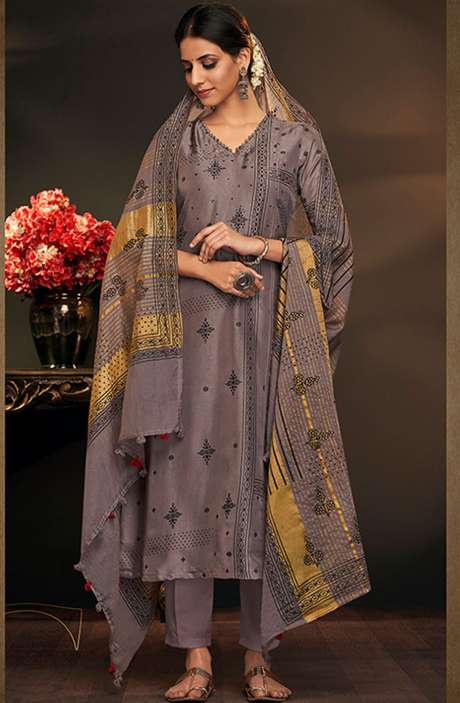 Cotton Silk Spring Collection Printed Salwar Suit In Grey - AYL5044