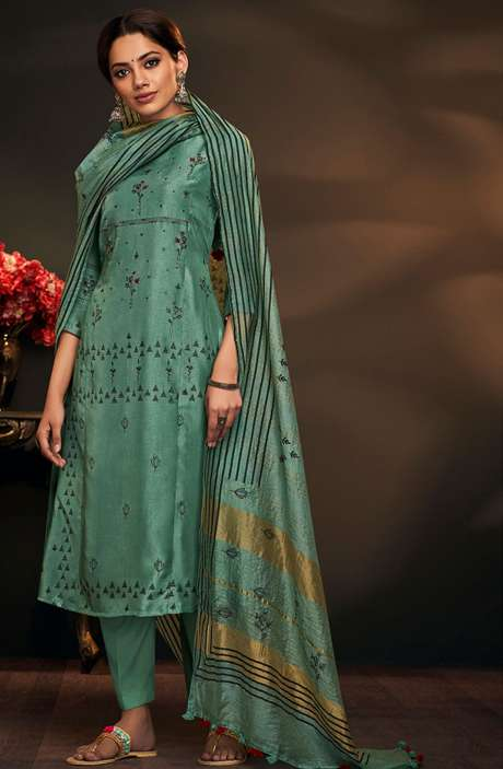 Cotton Silk Spring Collection Printed Salwar Suit Sets In Green - AYL5045