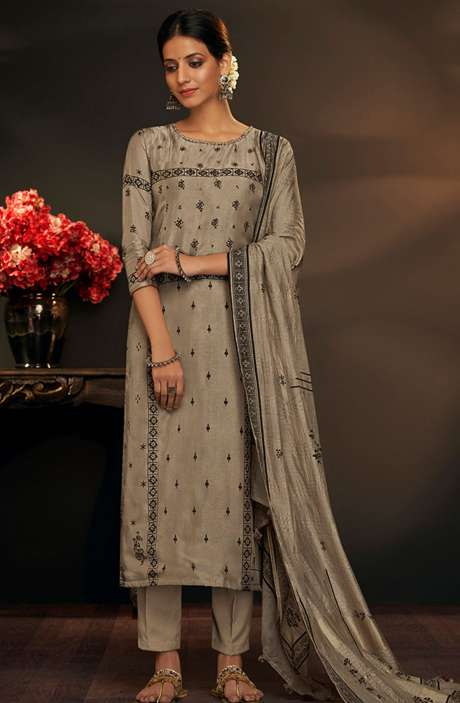 Cotton Silk Spring Collection Printed Salwar Suit Sets In Brown - AYL5046