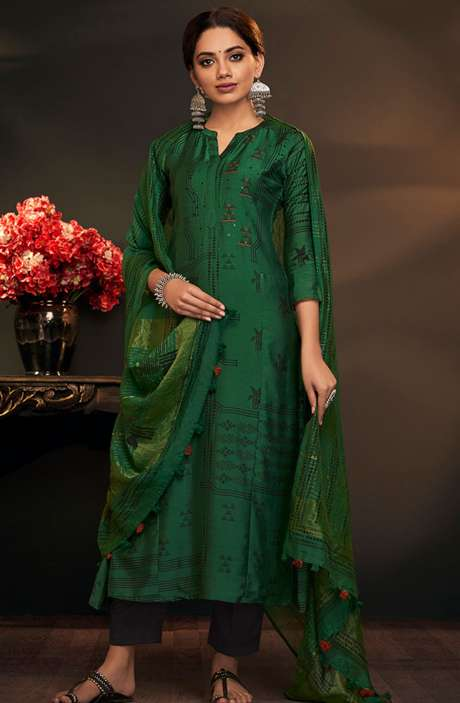 Cotton Silk Spring Collection Printed Salwar Suit Sets In Bottle Green - AYL5049