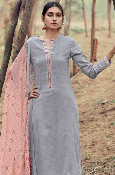 Casual Cotton Salwar Suit Sets In Grey & Peach - AZA122