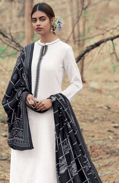Casual Cotton Salwar Suit Sets In White & Black - AZA144