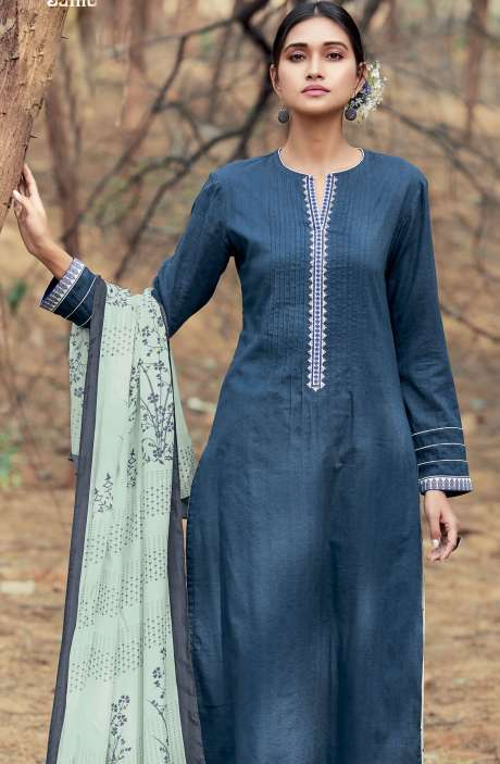 Casual Cotton Salwar Suit Sets In Blue & Cream - AZA150