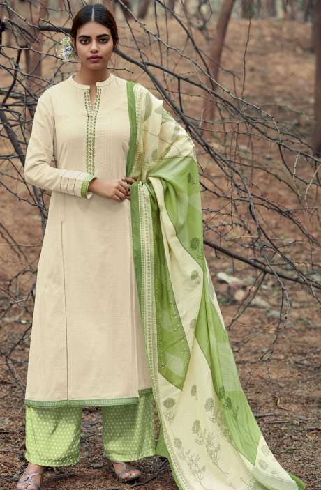 Casual Cotton Salwar Suit Sets In Cream & Lime Green - AZA168