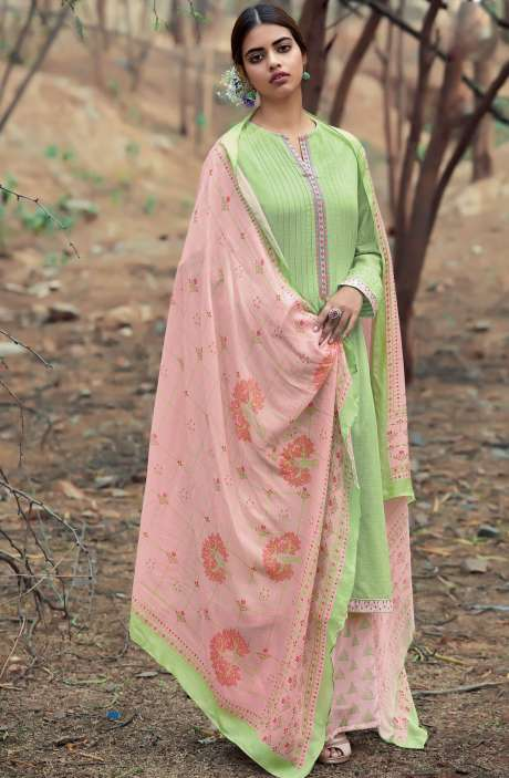 Casual Cotton Salwar Suit Sets In Lime Green & Light Pink - AZA180