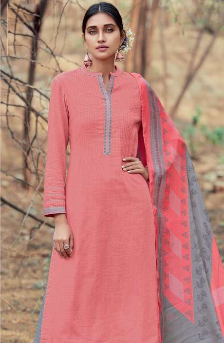 Casual Cotton Salwar Suit Sets In Pink & Grey - AZA188
