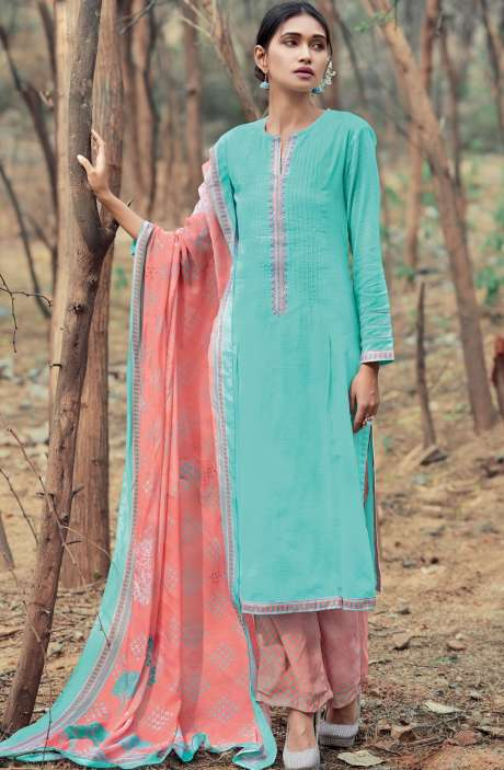 Casual Cotton Salwar Suit Sets In Turquoise & Peach - AZA194