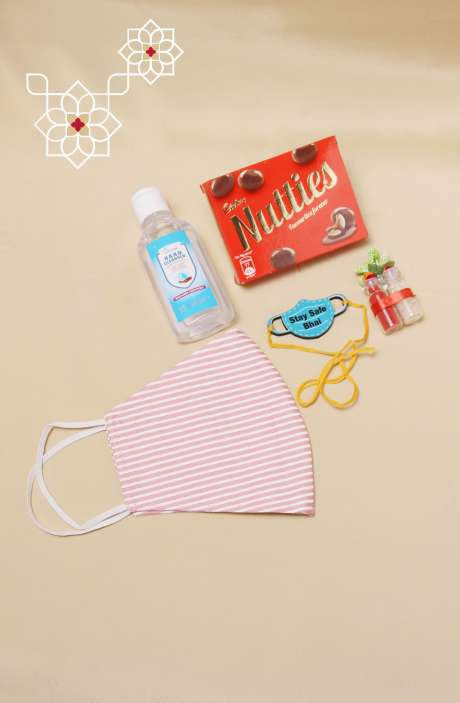 Fun Quirky Stay Safe Bhai Rakhi, Teeka Chawal Sanitizer with Nutties Chocolate & Mask, Gift for Brother - B2QR-A