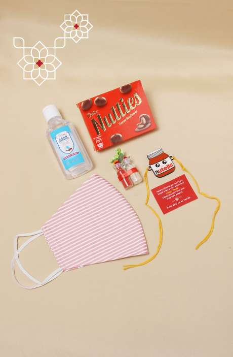 Fun Quirky Nutella Rakhi, Teeka Chawal Sanitizer with Nutties Chocolate & Mask, Gift for Brother - B2QR-B