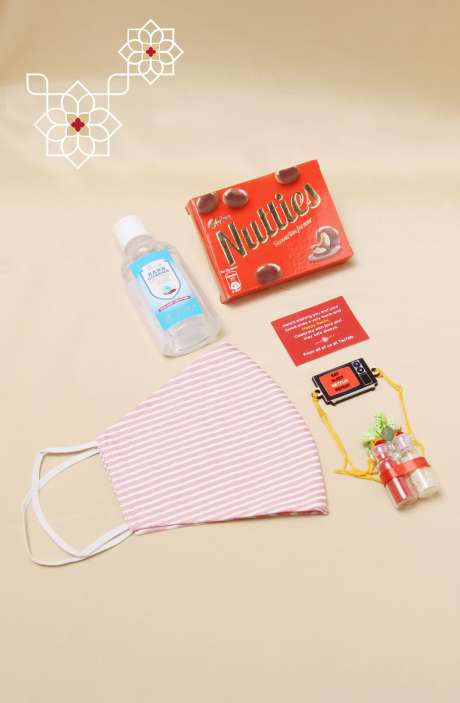 Fun Quirky Rakhi, Teeka Chawal Sanitizer with Nutties Chocolate & Mask, Gift for Brother - B2QR-D