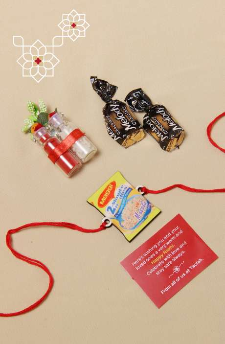 Fun Quirky Rakhi for Brother, Teeka Chawal with 2 Melody Toffees - B5SRQ-A