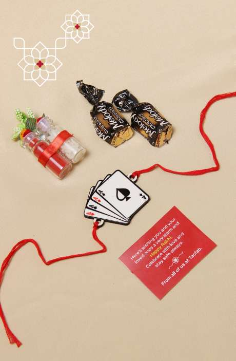 Fun Quirky Playing Cards Rakhi for Brother, Teeka Chawal with 2 Melody Toffees - B5SRQ-B