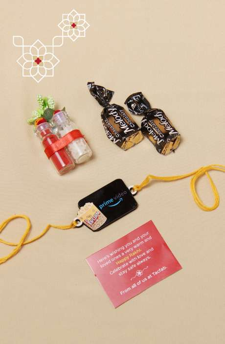 Fun Quirky Popcorn Prime Video Rakhi for Brother, Teeka Chawal with 2 Melody Toffees - B5SRQ-D