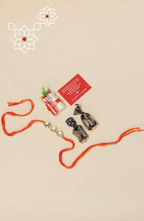 Auspicious Golden Metal Kundan Rakhi for Brother, Teeka and Chawal with 2 Melody Toffees - B7SRKR-A
