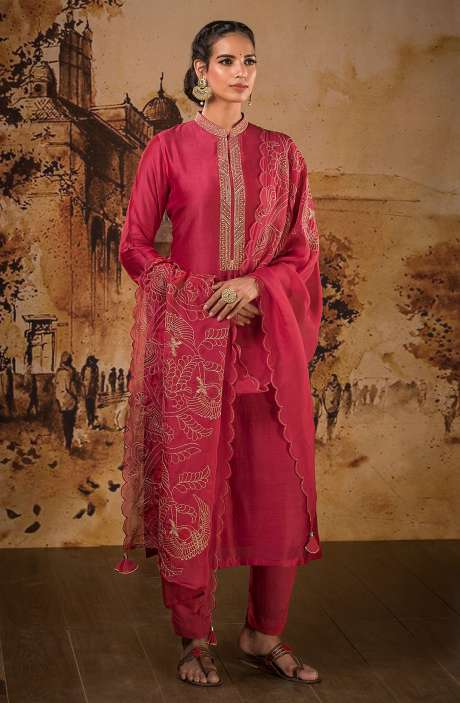 Designer Semi-stitched Muslin Silk Festive Wear Salwar Suit Set In Rose Red - BAA1101