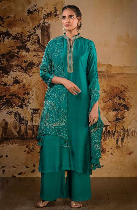 Designer Semi-stitched Muslin Silk Festive Wear Salwar Suit Set In Firozi - BAA1102