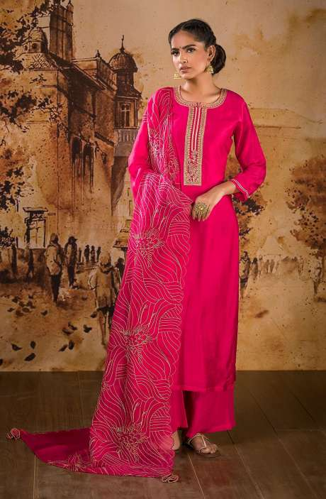 Designer Semi-stitched Muslin Silk Festive Wear Salwar Suit Set In Rani Pink - BAA1103