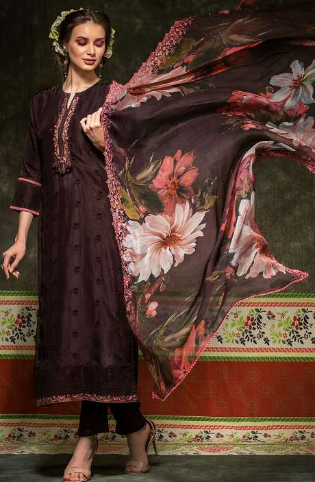 Russian Silk Embroidered Purple Salwar Suit with Chiffon Dupatta - BAH2330