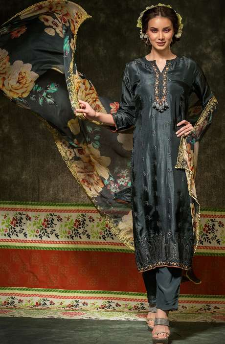 Russian Silk Embroidered Grey Salwar Suit with Chiffon Dupatta - BAH2331