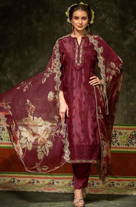 Russian Silk Embroidered Maroon Salwar Suit with Chiffon Dupatta - BAH2332