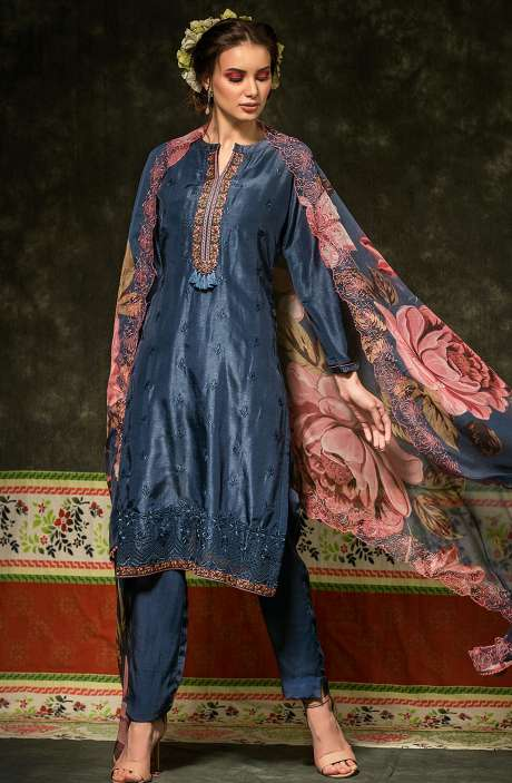 Russian Silk Embroidered Blue Salwar Suit with Chiffon Dupatta - BAH2333