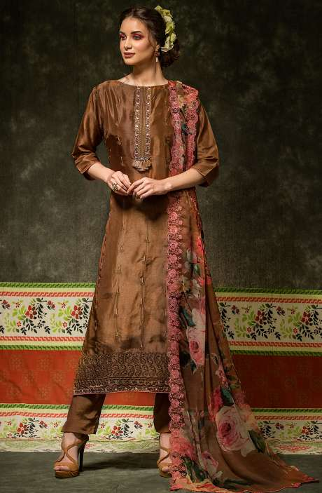 Russian Silk Embroidered Brown Salwar Suit with Chiffon Dupatta - BAH2335