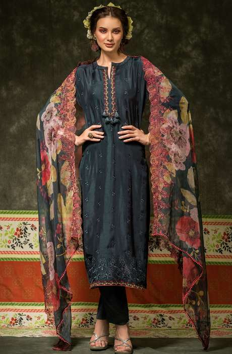 Russian Silk Embroidered Dark Blue Salwar Suit with Chiffon Dupatta - BAH2336