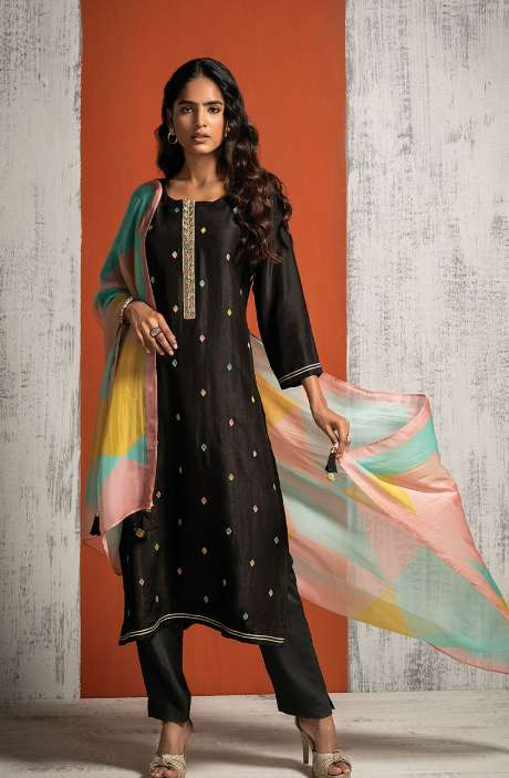 Russian Silk Beautiful Embroidered Salwar Kameez In Black with Organza Dupatta - BAH8479
