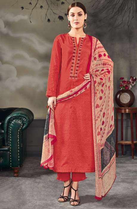 Rakhi Special Cotton Digital Printed with Embroidered Salwar Kameez In Peach - BAN718