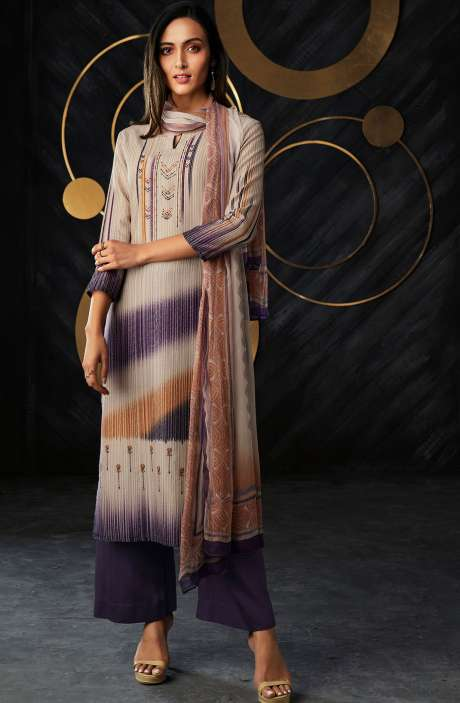 Cotton Lawn Digital Printed Unstitched Suit Sets in Multi & Purple - BANC0072