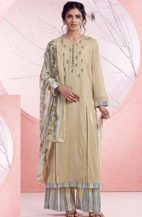 Cotton Embroidery Salwar Suit In Beige & Multicolor - BAS1092