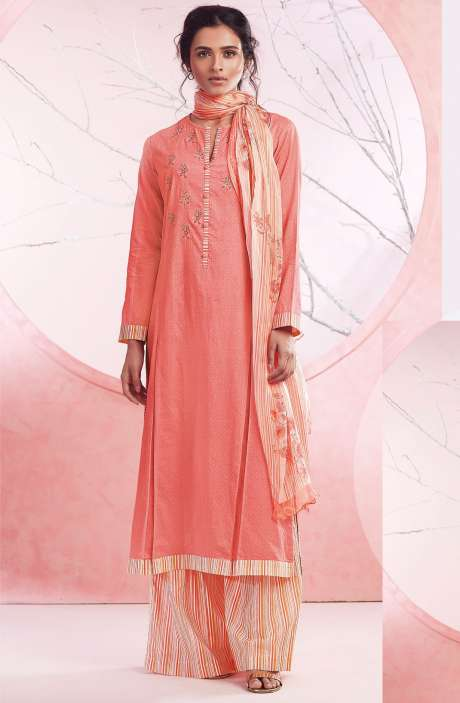 Cotton Embroidery Salwar Suit Sets In Peach & Multicolor - BAS1097