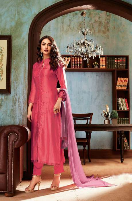Chanderi and Cotton Satin Embroidery Pink Salwar Suit - BEA1131