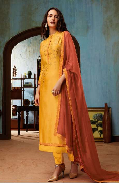 Chanderi and Cotton Satin Embroidery Yellow Salwar Suit - BEA1132